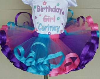 Pink, purple and turquoise ribbon trimmed tutu ONLY