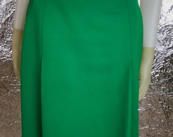 Vintage Green 1960's Mod A-Line Front Pleated Skirt, Size M