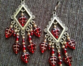Crimson Leaves - Beaded Chandelier Earrings