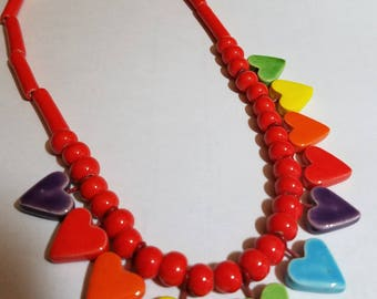 ceramic hearts necklace