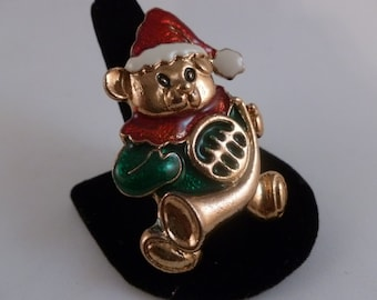Vintage Musical Christmas Bear Brooch.