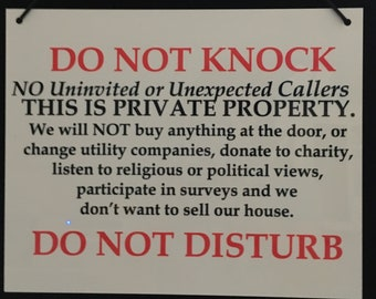 Do Not Knock No Soliciting Sign