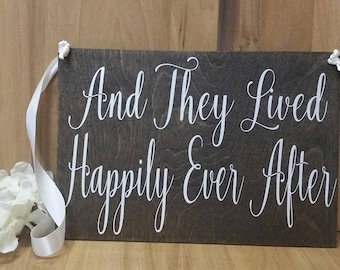 And They Lived Happily Ever After-Aisle Sign-Wedding Sign-Photo Prop-Save the Date