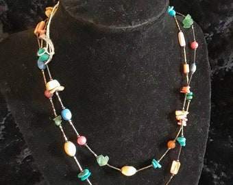 Turquoise and other natural stone bead necklace