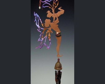 Copper Fairies Mother & Child Learning to Fly - Obsidian Wind Chime - A perfect Mother's Day Gift