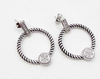 925 sterling silver - genuine diamonds twisted rope stud hoop earring - e1088
