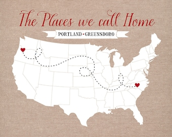 The Places we Call Home -  Personalized Housewarming Gift - Two Locations of your Choice, Custom Map, Moving Away Gift, Farewell