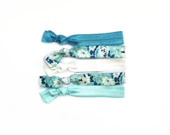 Something Blue Elastic Hair Tie, Blue Floral Hair Ties, Elastic Hair Ties, Ponytail Holder, Hair Tie, No Crease Hair Ties, Hair Accessories