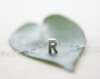 "Silver Letter, Alphabet, Initial capital  ""R"" necklace, birthday gift, lucky charm, layered necklace"