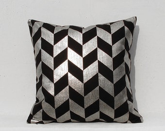 Silver Cushion Cover,Geometric Pillow Case , Holiday Decorative Pillow Case , Silver 01