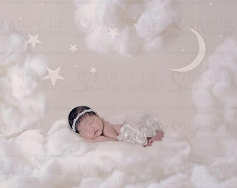 Newborn Digital Backdrop - Clouds with White Moon and Stars Background Composite