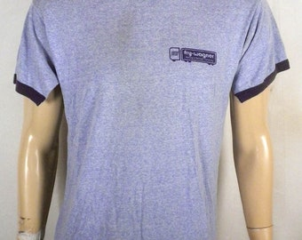 vtg 80s buttery soft thin United Fry-Wagner Moving Storage T-Shirt Ringer blue L