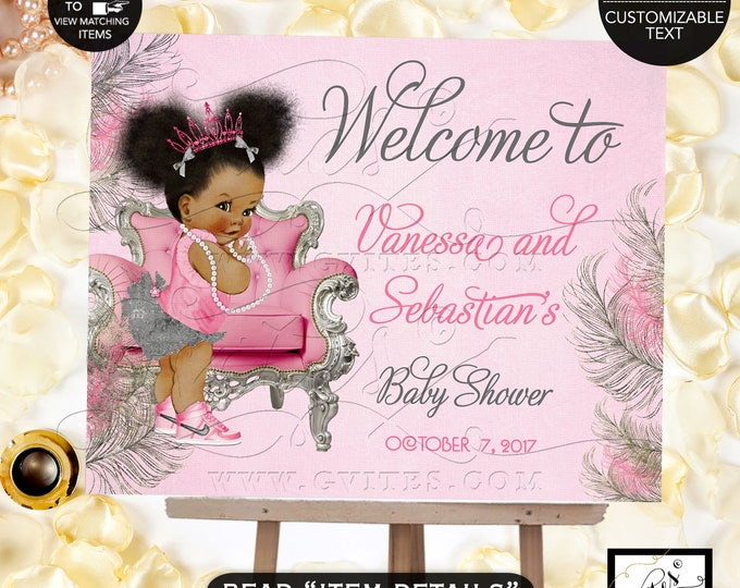 Pink and Silver Baby Shower Welcome Sign, Princess Decoration, Vintage Baby Girl African American Afro Puffs Pink Tiara