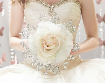 Bridal Bouquet - Large Silk Rose Bridal Bouquet w/ Silver Beads - Glamelia Compostite Wedding Bouquet - Fabulous Brooch Bouquet Alternative