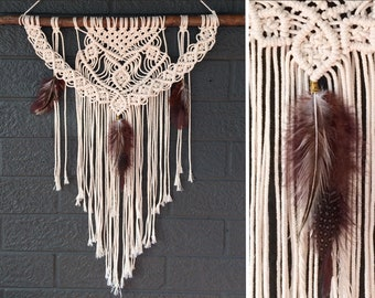 Embrace Cotton and Feather | Nature Inspired Modern Macrame Feature Piece
