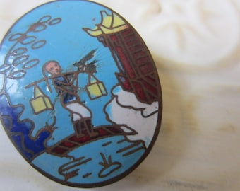 Vintage Button -1  Collector Japanese metal button  hand painted enamel large oval pictorial design, (oct 32b)