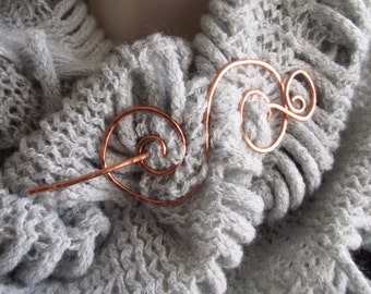 """Copper Shawl Pin- Celtic Medieval Pin- Wire Wrap Shrug Brooch Pin Holder- Copper Thick Metal Scarf Pin - """"Tiger Tail"""""""
