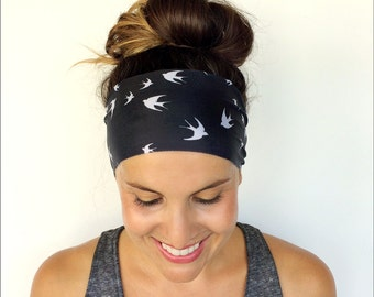 Yoga Headband - Workout Headband - Fitness Headband - Running Headband - Free Bird Print - Boho Wide Headband