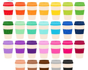 Rainbow Coffee Clipart Set - coffee to go, coffee cups, clip art, rainbow coffee - personal use, small commercial use, instant download