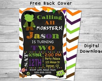 Frankenstein Invitation - Halloween Party Invitation - Halloween Invitation - Frankenstein Birthday Invitation