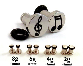 Musician Single Flared Surgical Steel Plugs - 8g (3mm) 2g (6mm) Music Notes and Treble Clef Symbol Metal Ear Gauges