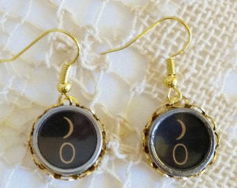 Gold Drop Typewriter Key Earrings, Antique Typewriter Key Jewelry, Black ) 0 Key Dangle Earrings, Eyes Earrings, 0 Key Typewriter Earrings