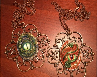 Fancy Dragon Eye Necklace-Dragon pendant, One of a kind Dragon necklace