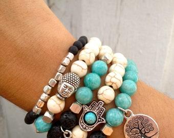 Baum des Lebens, HAMSA, OM, Buddhaarmband Set - Lava, Howlith, Jade