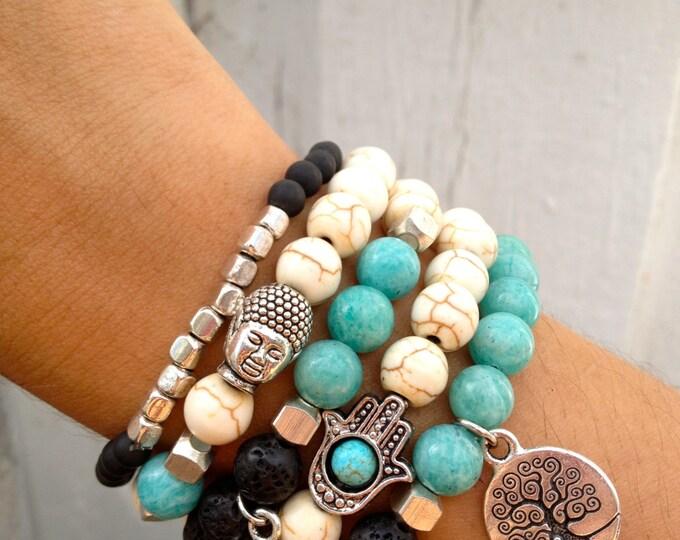 Tree of Life, HAMSA, OM, BUDDHA Bracelet Set - Lava, Howlite, Jade