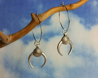 Antique Silver Tusk Hoops (Small)