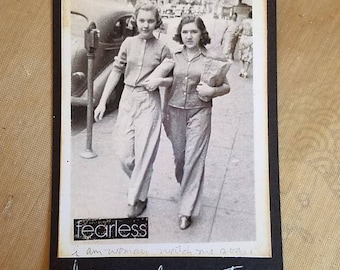 Fearless art tag, 1940's vintage photo