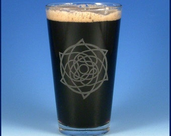 Celtic Star Pint Glass - Etched Glassware - Ready to Ship