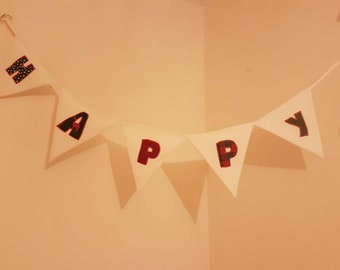 HAPPY BIRTHDAY bunting,special occasion, handmade, Bunting flags,