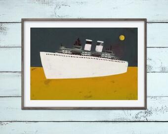 DAMPFER Print Poster A4 Nostalgie Schifffahrt Malerei Illustration Druck