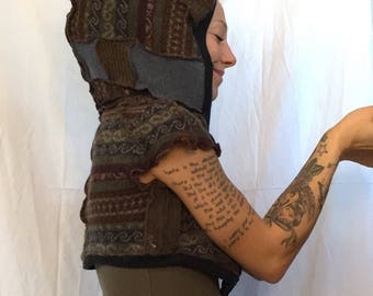 SALE Was 65 now 50 ForestFae Dragon hoodie  cropped upcycled wool vest ooak