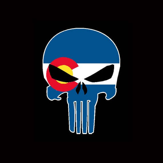 Colorado state flag the punisher sticker decal 2nd amendment