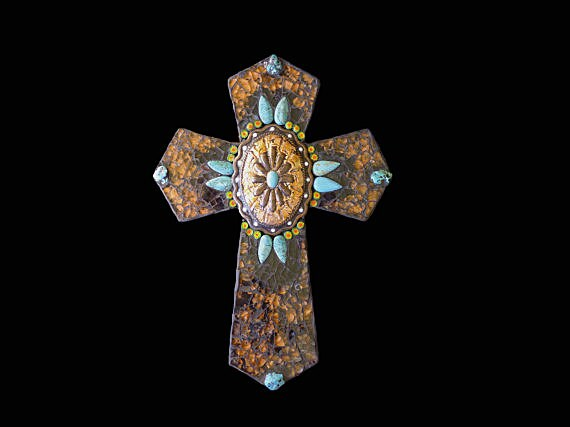 Western Southwestern Mosaic Wall Cross Decor with Belt Buckle Focal and Genuine Turquoise Nuggets