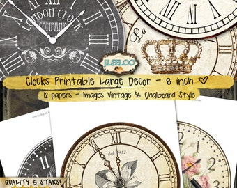 BIG CLOCK 8 inch circle - home decor jpeg clipart vintage chalkboard paper crafting - instant download digital collage printable - tn498