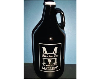 Monogrammed Custom Homebrew Growler, personalized growler, Etched Growlers, Growlers, Beer, Beer Gift, Custom Engraved Growler,Gifts for Him