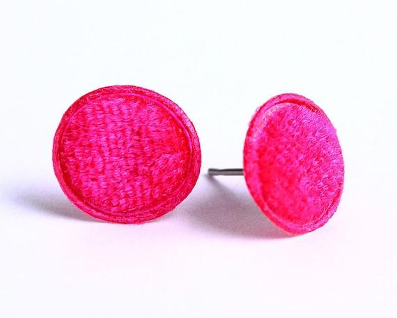 Fuchsia pink velvet padded round dot hypoallergenic stud earrings (348)