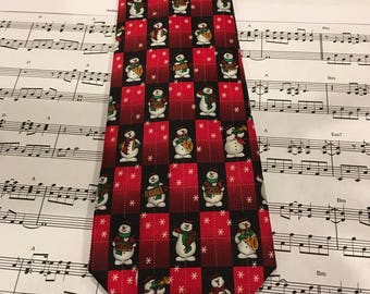 Vintage Christmas Necktie, Mens Holiday Tie, Snowman Tie, Frosty Necktie, Snowman Necktie