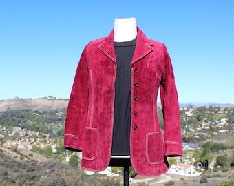 Cranberry Suede Leather Jacket (Vintage/ 80s / I. Magnin)