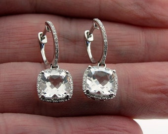 Small Hinged Diamond Huggy Huggie Hoops Clear Quartz Cushion Cut Halo Dangles Earrings 14KW Gold