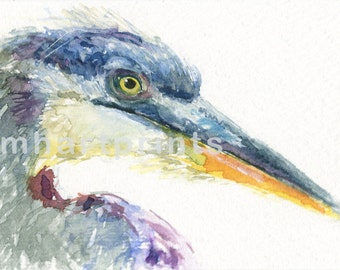 Watercolor Blue Heron, Blue Heron Print