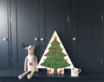 Hand Painted Wooden Christmas Tree Advent Calendar