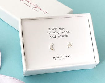 Love you to the 'Moon And Stars' Earrings