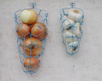 Wire Basket Set, Wall Basket, Onion Basket, Farmhouse, Rustic, Distressed Blue