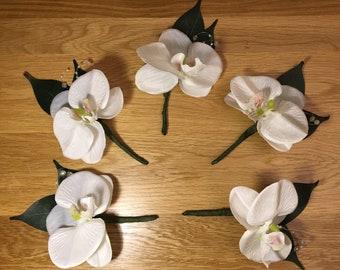 White orchid Groom Buttonhole, bestman, groomsmen, single flower,