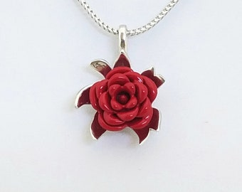 "Sterling Silver Monarch Rose Red, Women Necklace Pendant With 18"" Chain By Colorized Jewelry"