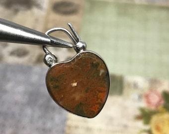 Vintage Engraved Agate Heart Padlock in Sterling / Moss Agate Heart Lock / Moss Agate Padlock